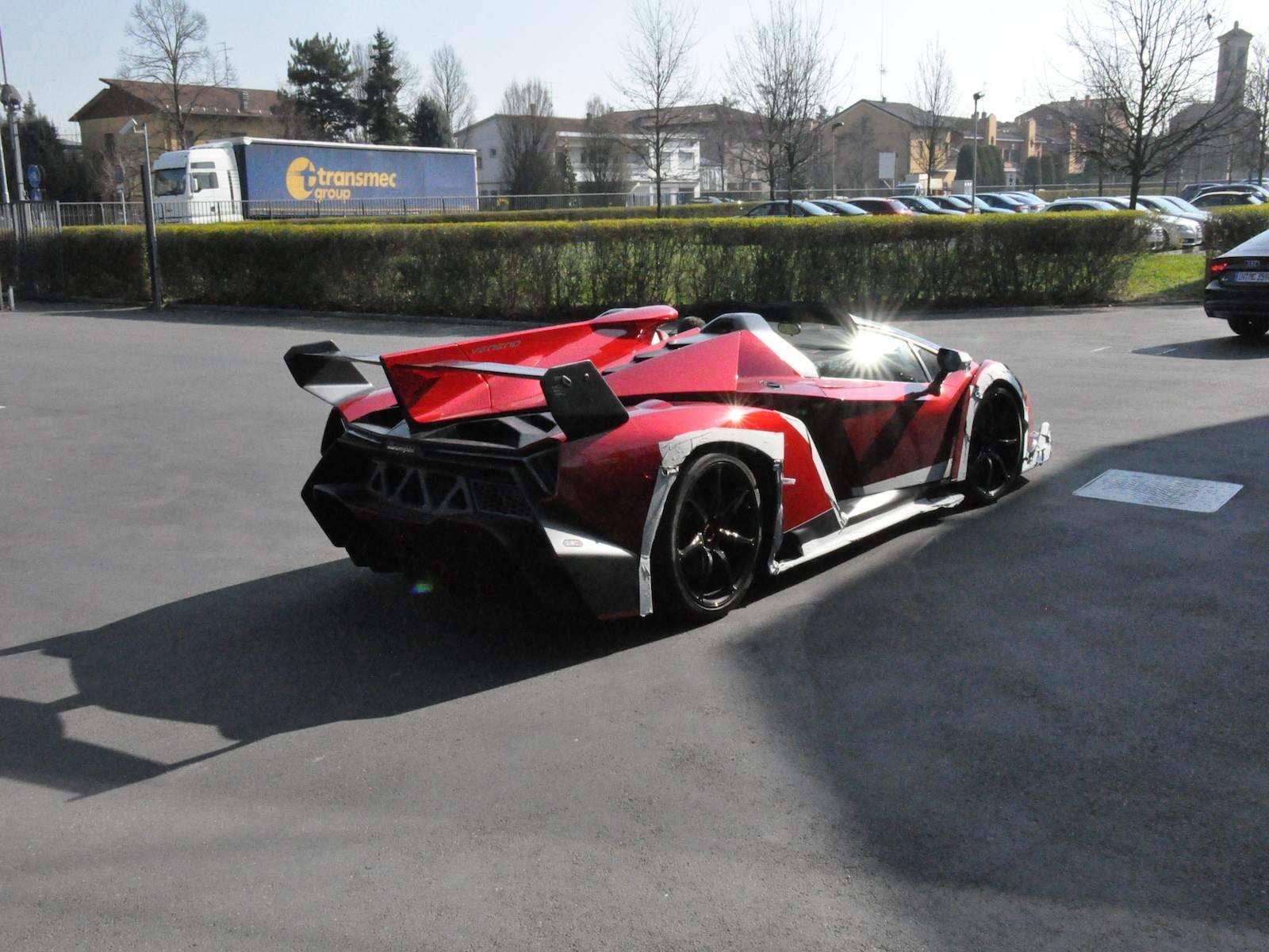 Spotted Lamborghini Veneno Roadster Outside Factory