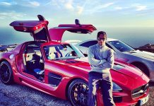 Lewis Hamilton Poses With His Red SLS AMG Black and SL 65 AMG Black