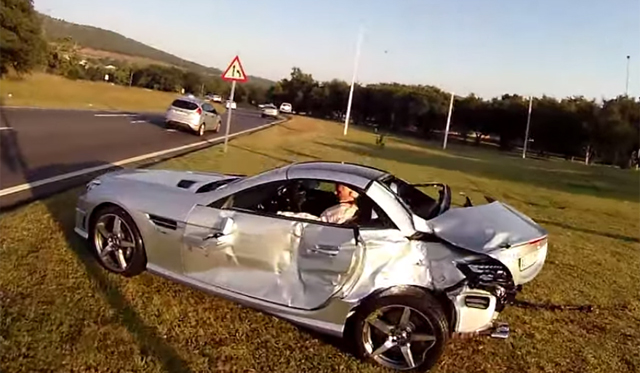 Coke Truck Takes Out Mercedes-Benz SLK 55 AMG in South Africa