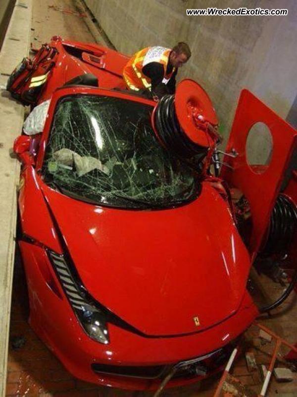 Ferrari 458 Spider Destroyed In High Speed Monaco Tunnel Crash