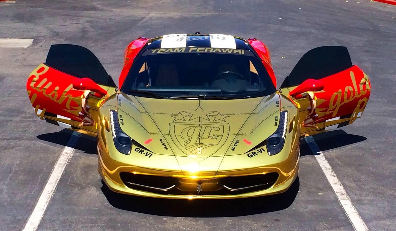Gold Chrome Ferrari 458 Italia For Goldrush Rally Vi