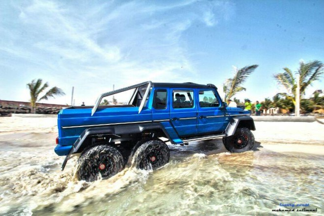 Blue mercedes benz g 63 amg 6x6 in the red sea gtspirit for How much is a mercedes benz g63