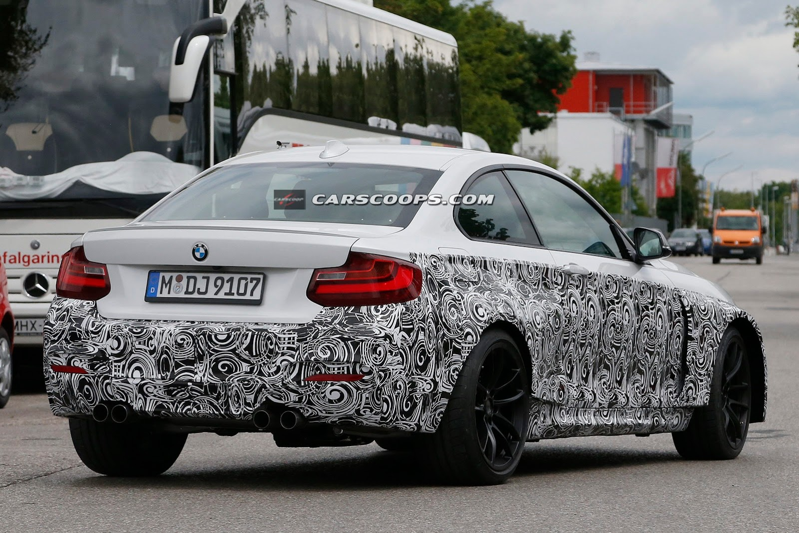 bmw m2 coupe protoype spied in white with quad exhausts gtspirit. Black Bedroom Furniture Sets. Home Design Ideas