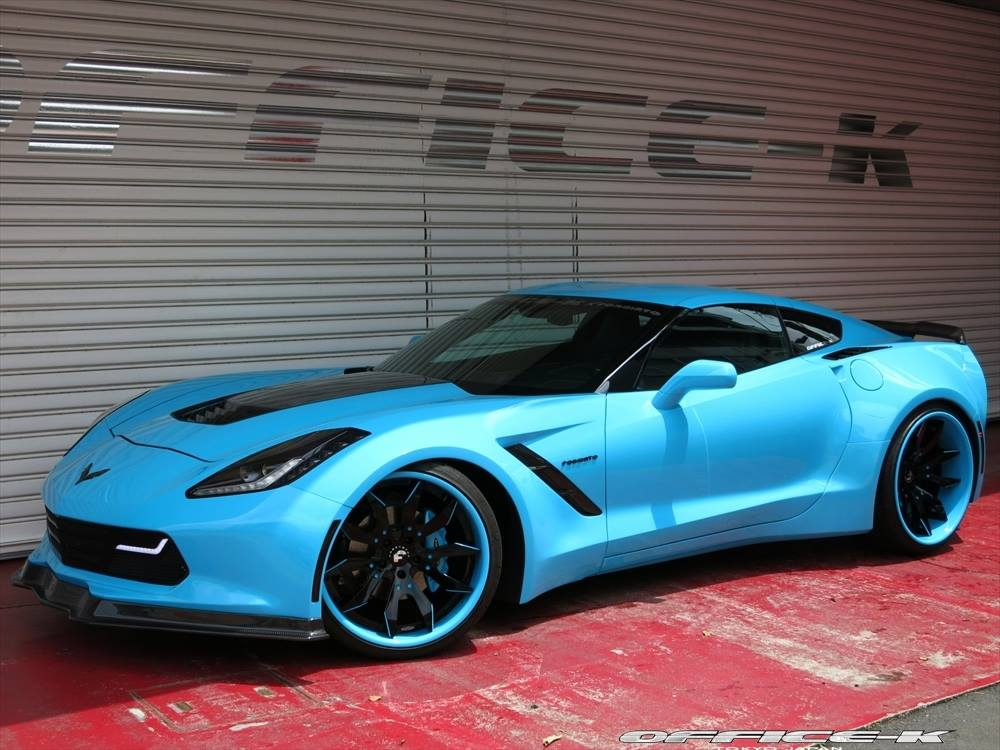 blue corvette c7 stingray widebody by office k gtspirit. Black Bedroom Furniture Sets. Home Design Ideas