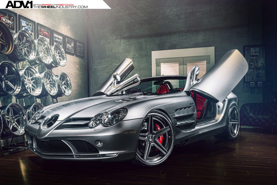 Silver Mercedes-Benz SLR McLaren Roadster With ADV.1 Wheels