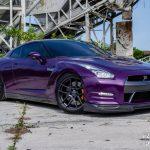 Purple Nissan GT-R Lowered on Velgen Wheels