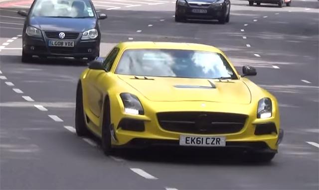 Video matte yellow mercedes benz sls amg in london gtspirit - Mercedes benz garage london ...