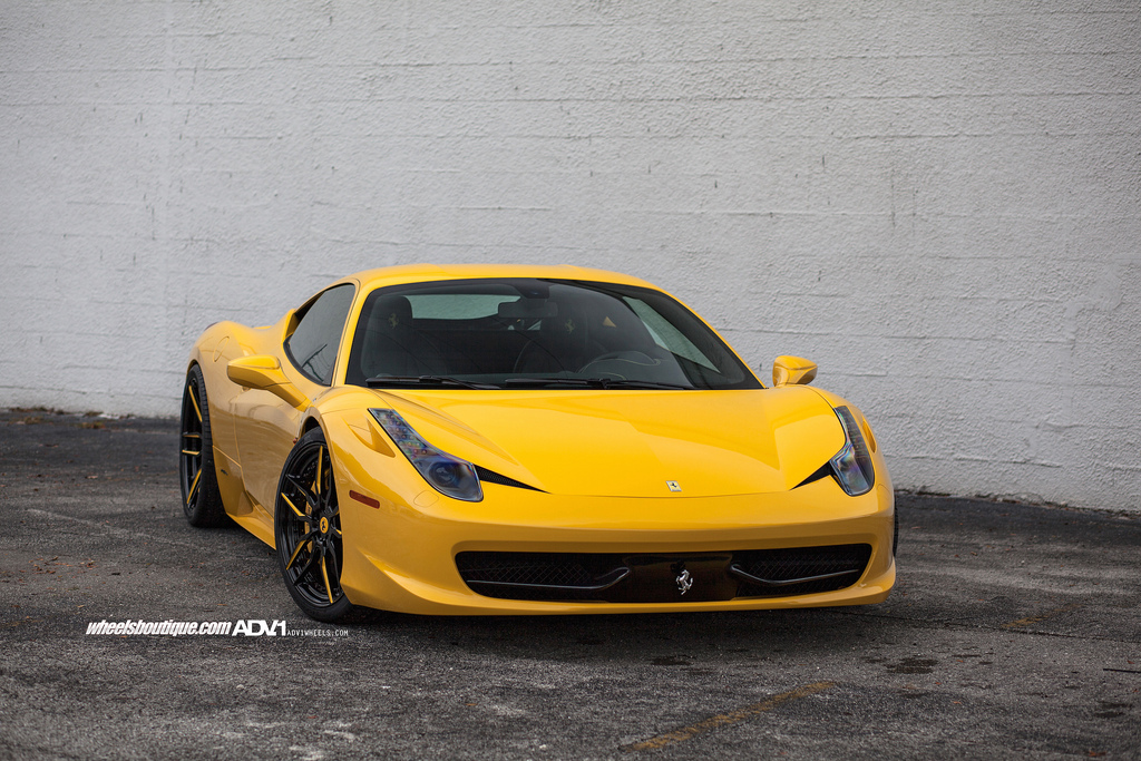 Yellow Ferrari 458 Italia With ADV.1 Wheels - GTspirit