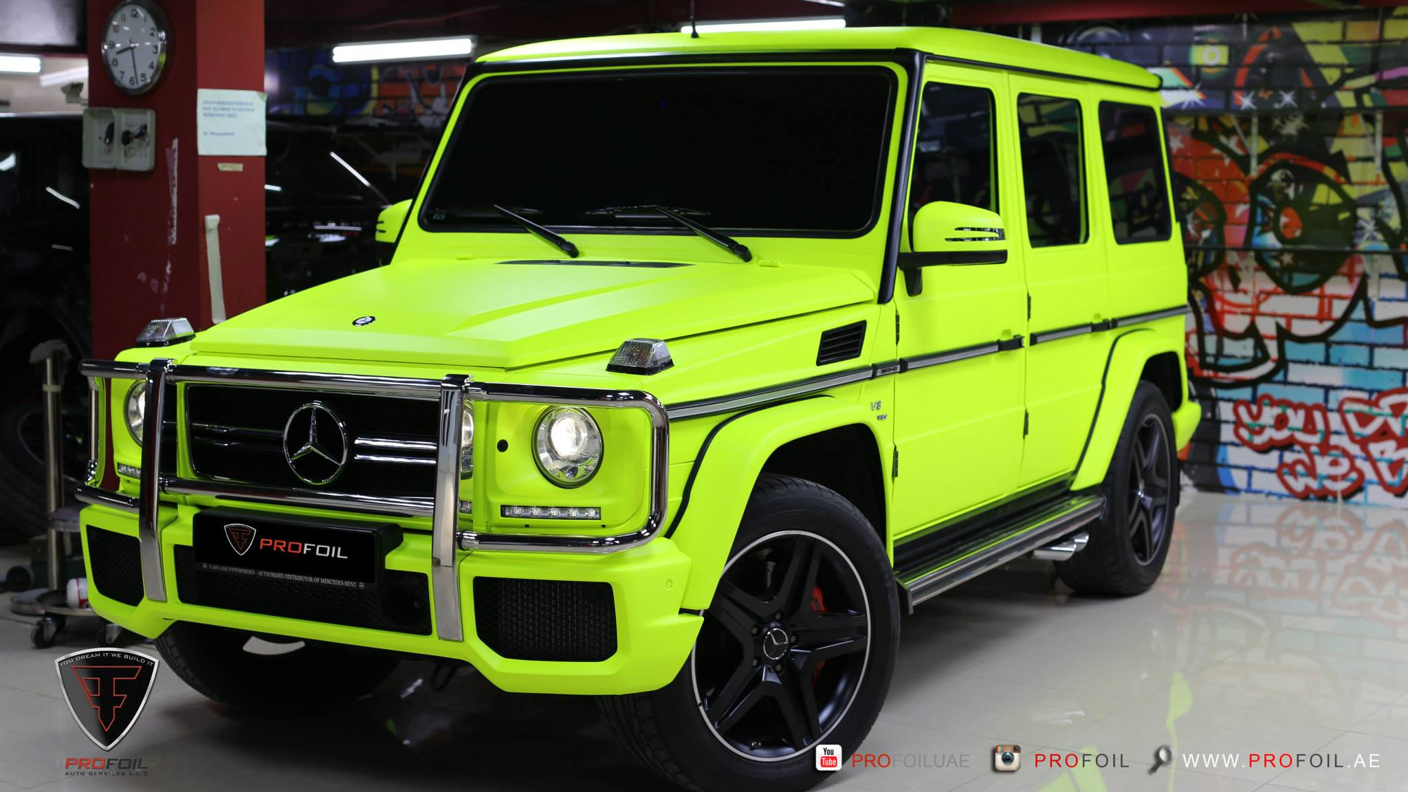 Fluro yellow mercedes benz g63 amg by profoil gtspirit for Mercedes benz g wagon g63