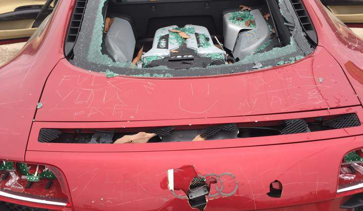Wife Destroys Unfaithful Husband's Audi R8