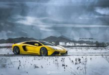 Lamborghini Aventador with Liquid Smoke ADV.1 Wheels in a Snow Storm
