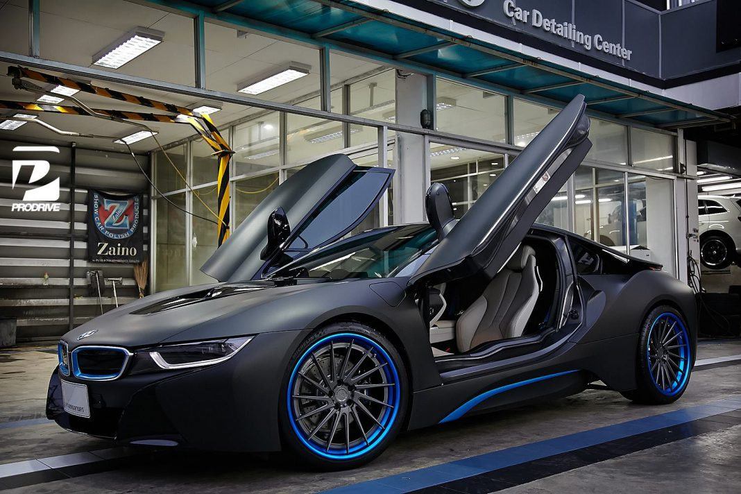 thai bmw i8 gets custom blue adv 1 wheels gtspirit. Black Bedroom Furniture Sets. Home Design Ideas