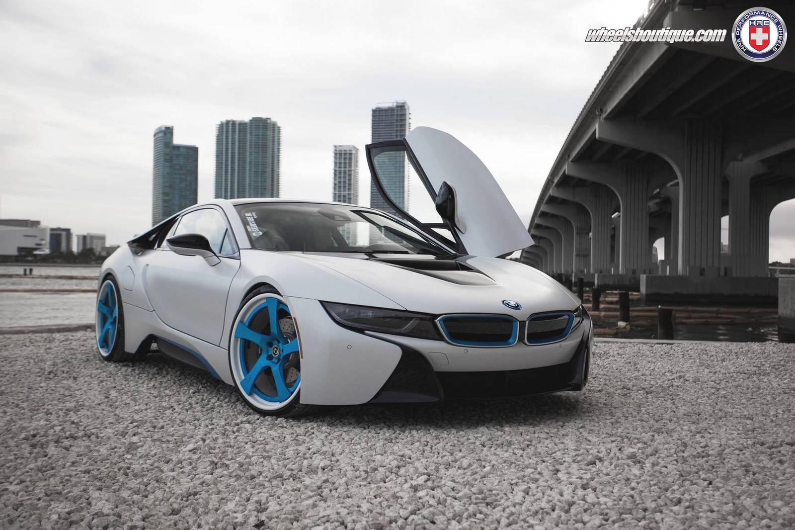 White BMW I8 Custom HRE Wheels
