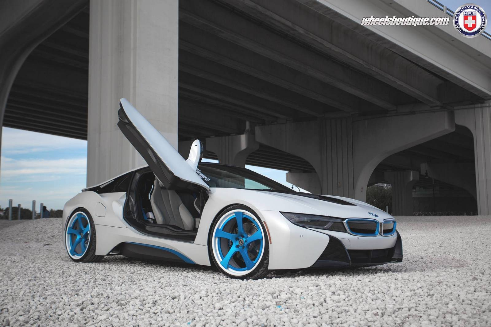 White Bmw I8 Lowered On Blue Hre Wheels Gtspirit