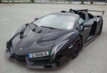 Black Lamborghini Veneno Roadster in Spain