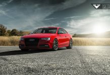 Red Audi S5 with Deep Concave Vorsteiner Wheels