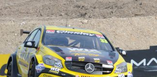 Adam Morgan Mercedes A-class flies at 2015 Thruxton BTCC