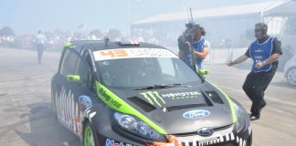 Ken Block comes to a tyre smoking halt for TV crews at 2011 Festival of Speed