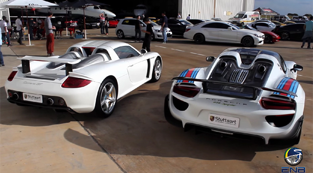 Video Porsche 918 Spyder Vs Carrera Gt Shows Off Hybrid