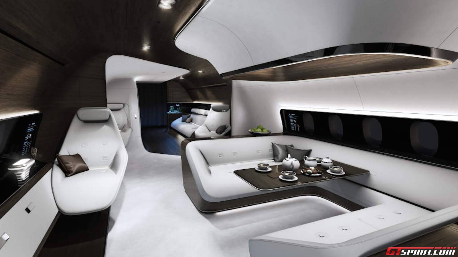 Mercedes Benz Design Airline Cabin Lufthansa Technik For Boeing 737.  Mercedes Benz Announced Their First Luxurious Private Jet Interior ...