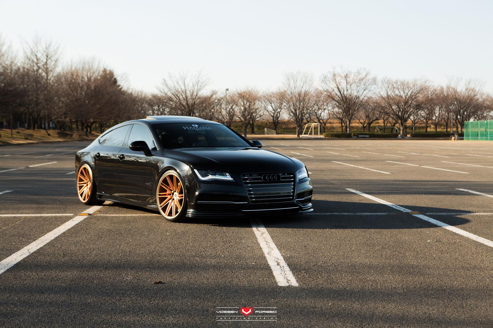 Black Audi Rs7 With Gold Vossen Wheels Gtspirit
