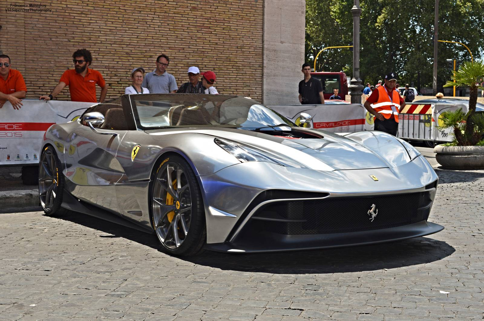Silver Chrome Ferrari F12 TRS Snapped in Rome - GTspirit