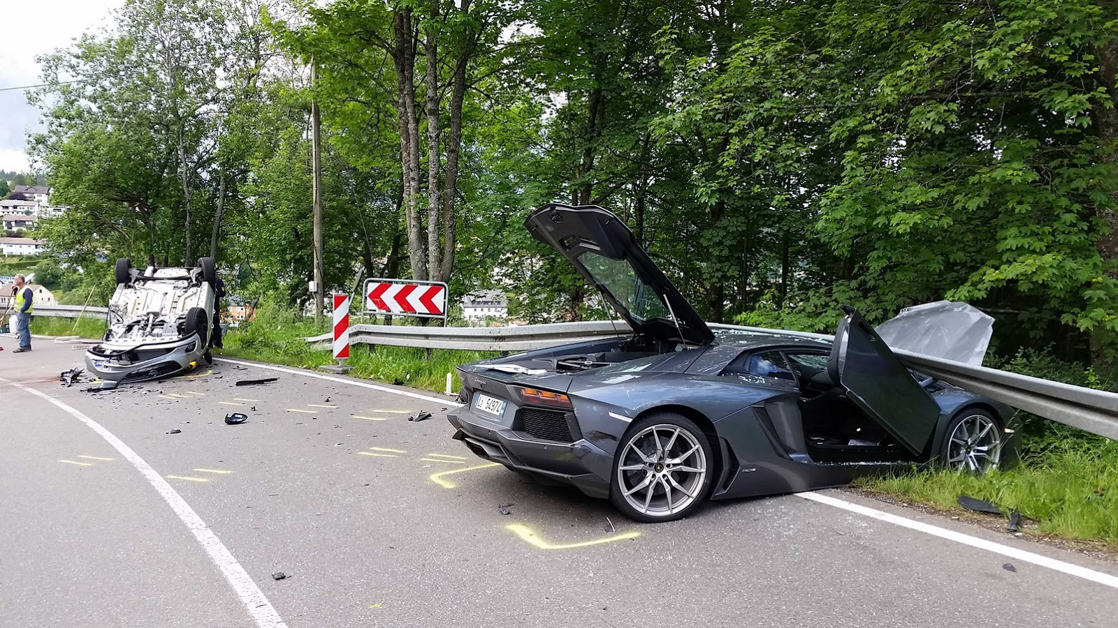 Silver Lamborghini Aventador Crashes In Germany Gtspirit