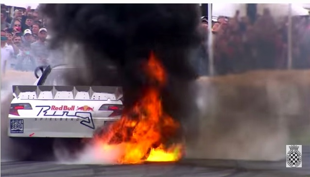 NASCAR Bursts Out Into Flames While Doing Burnout at Goodwood!
