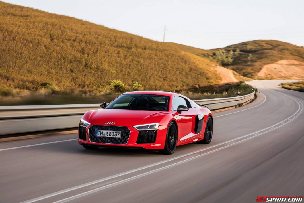 Dynamic Red Audi R8 V10 Plus