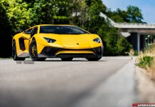 Yellow Lamborghini Aventador SV front