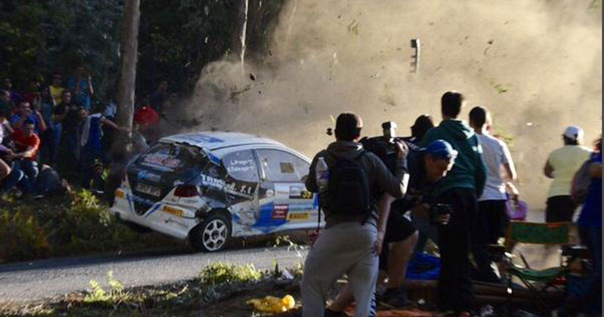 Rally Car Crashes Into Spectators