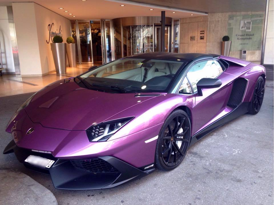 Unique Purple Lamborghini Aventador 50th Anniversario In