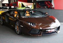 Brown Lamborghini Aventador for sale front