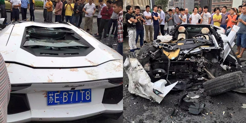 lamborghini aventador crashes into mud truck in china gtspirit. Black Bedroom Furniture Sets. Home Design Ideas