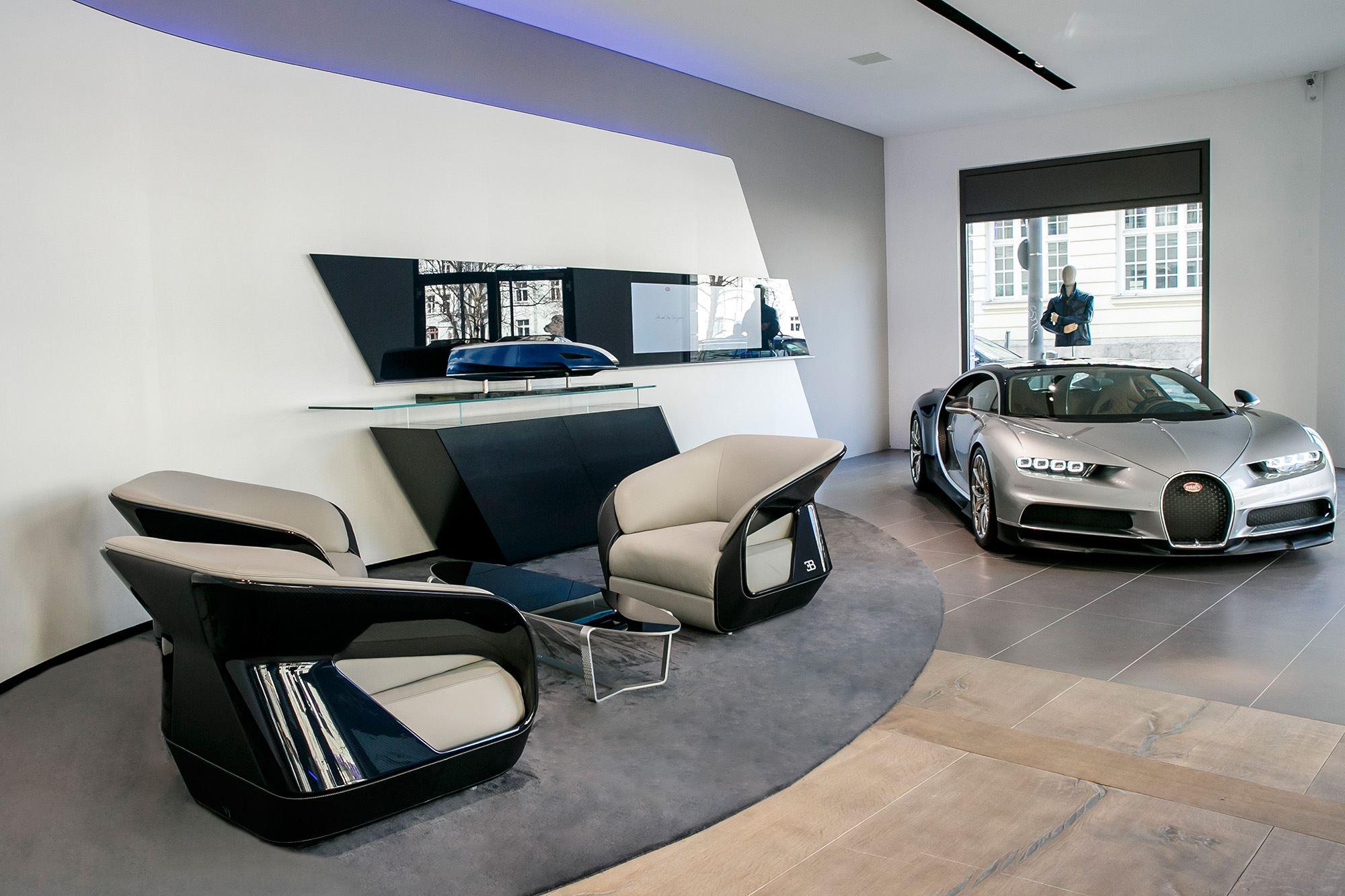 Silver Bugatti Chiron Displayed In New Bugatti Boutique In