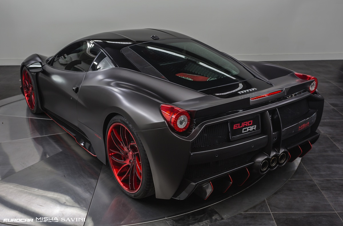 Satin black ferrari 458 italia by misha designs gtspirit for Design italia