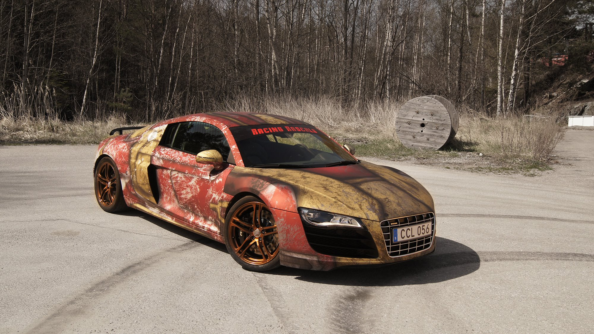 Audi R8 V10 With Rust Themed Iron Man Wrap By Skepple