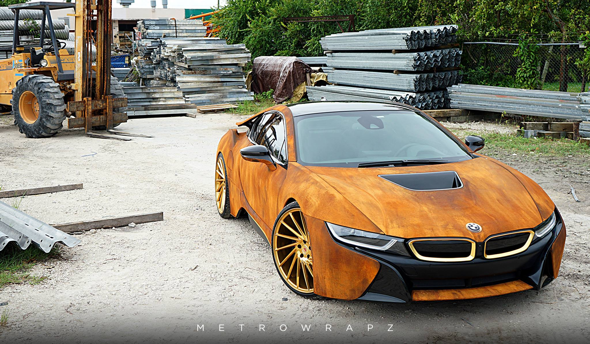 Mahones Rust Wrapped BMW I8 With Vossen Wheels