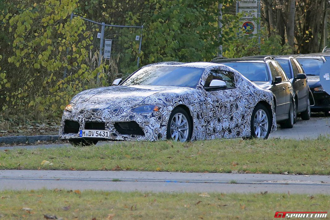 2018 toyota supra latest spy shots with production body gtspirit. Black Bedroom Furniture Sets. Home Design Ideas