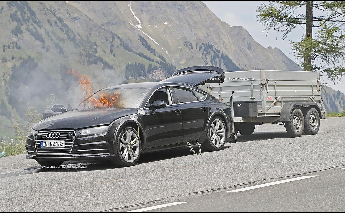 2019 audi a7 catches fire while testing gtspirit. Black Bedroom Furniture Sets. Home Design Ideas