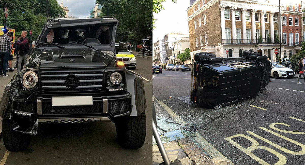 Brabus G500 4×4² Rolls Over in London after Crashing into Prius (with Video)