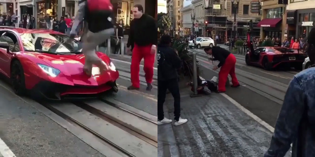 Video: Crazy Guy Jumps on Aventador SV then Gets a Beating from Owner