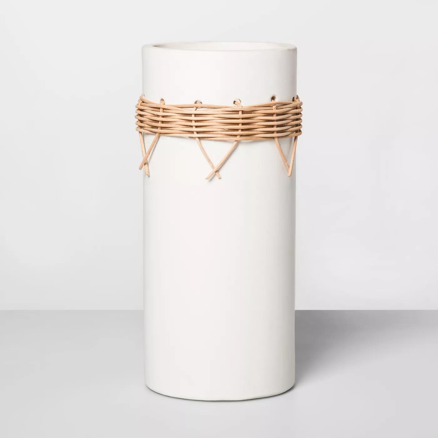 Large Earthenware Rattan Vase