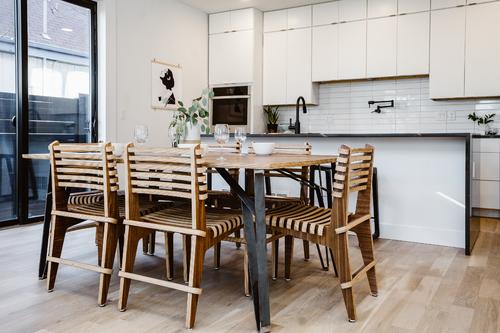 "Truss Isosceles Dining Table 72"" (Walnut & Raw Steel)"