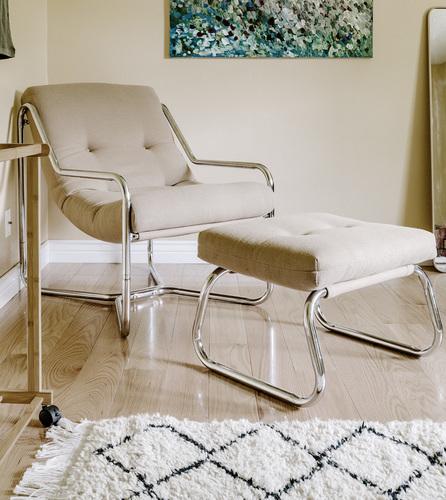 Vintage Unarco Lounge Chair & Ottoman