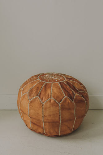 Round Moroccan Leather Pouf - Embroidered Camel