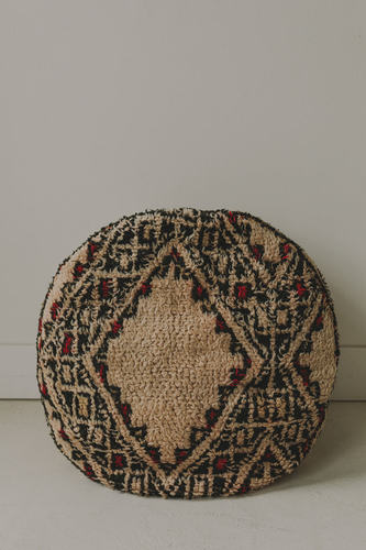 Round Moroccan Rug Pouf - White/Red