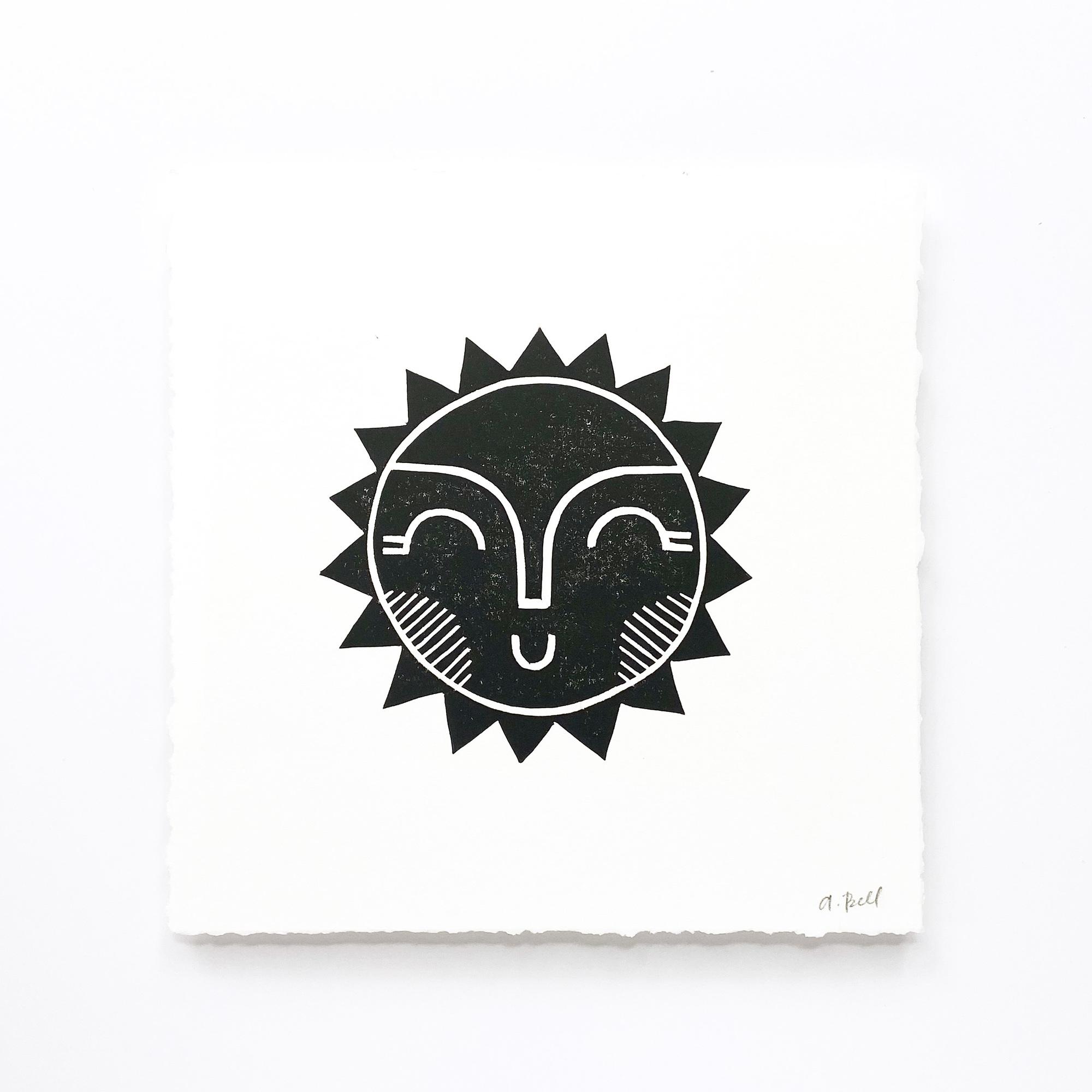 Hand Block Printed Art Print   Sun