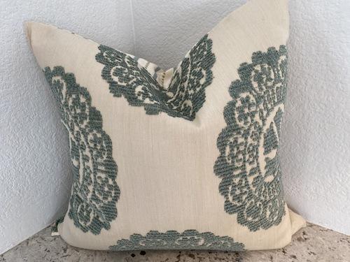 Green Velvet Damask Pillow  / Opposite Side Green Dotted Silk
