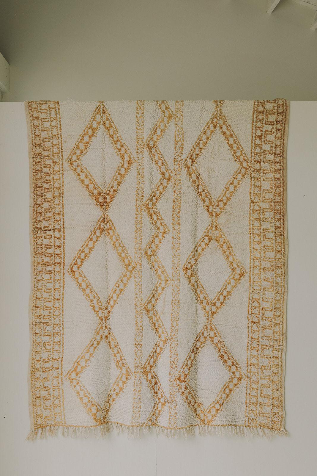 Vintage Beni Ourain (5.3 x 8.11) - White/Yellow/Grey